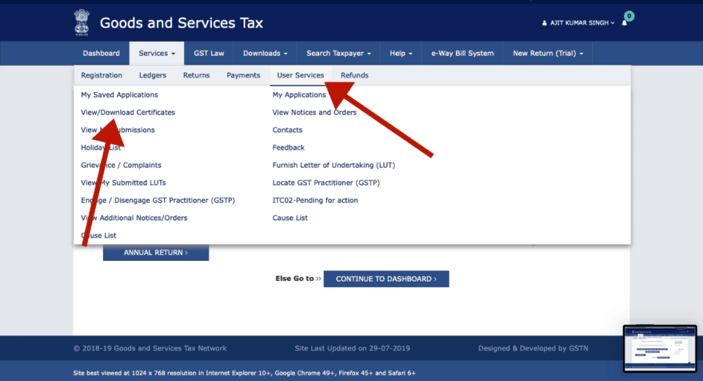 Click on Services > User Services > View/Download Certificates | How to Download GST Certificate [Step by Step]