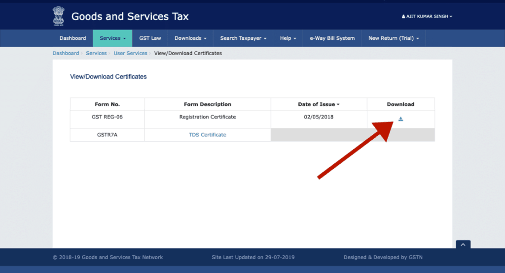 Click on Download Icon | How to Download GST Certificate [Step by Step]